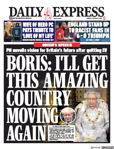 Daily Express Newspaper Front Page (UK) for 15 October 2019
