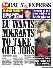 Daily Express () Newspaper Front Page for 15 November 2012