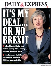 Daily Express (UK) Newspaper Front Page for 15 November 2018