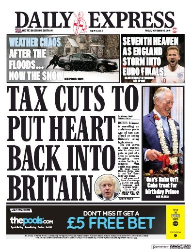 Daily Express Newspaper Front Page (UK) for 15 November 2019