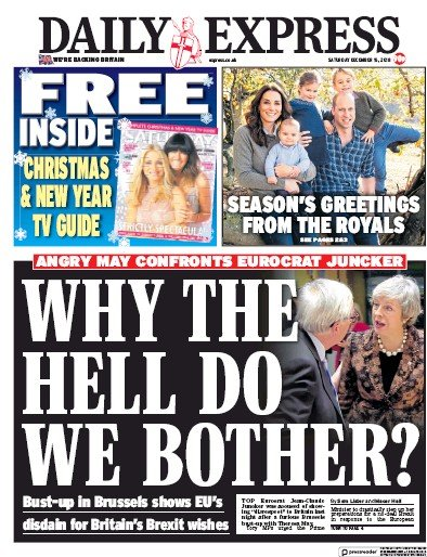 Daily Express Newspaper Front Page (UK) for 15 December 2018