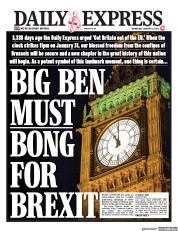 Daily Express (UK) Newspaper Front Page for 15 January 2020