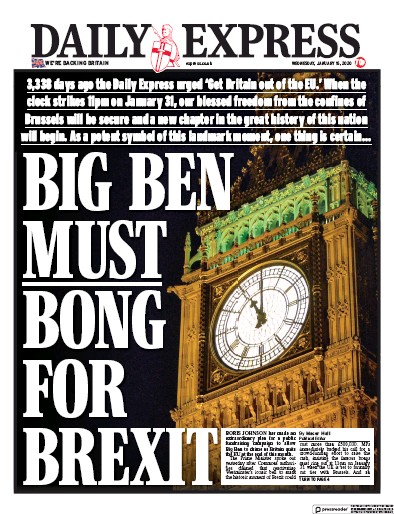 Daily Express Newspaper Front Page (UK) for 15 January 2020