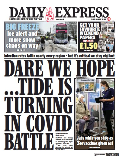 Daily Express Newspaper Front Page (UK) for 15 January 2021