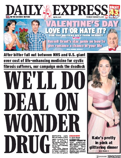 Daily Express Newspaper Front Page (UK) for 15 February 2019