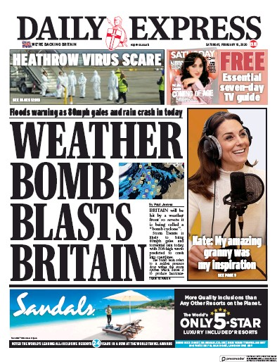 Daily Express Newspaper Front Page (UK) for 15 February 2020