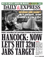 Daily Express front page for 15 February 2021