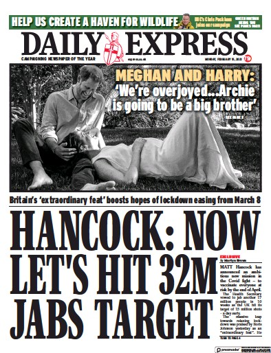 Daily Express Newspaper Front Page (UK) for 15 February 2021