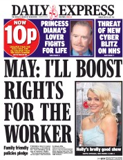 Daily Express (UK) Newspaper Front Page for 15 May 2017