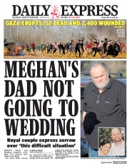 Daily Express (UK) Newspaper Front Page for 15 May 2018