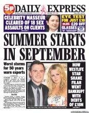 Daily Express Newspaper Front Page (UK) for 15 June 2012