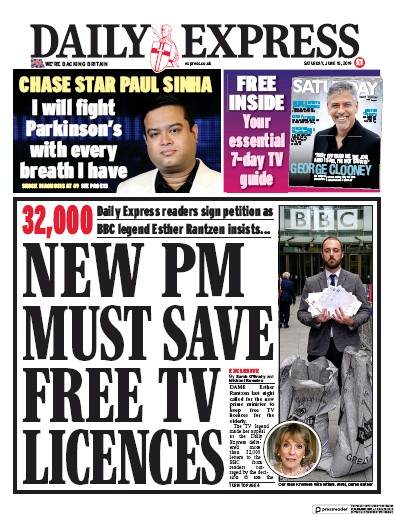 Daily Express Newspaper Front Page (UK) for 15 June 2019