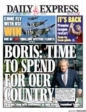 Daily Express (UK) Newspaper Front Page for 15 June 2020