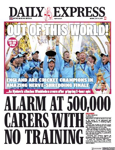 Daily Express Newspaper Front Page (UK) for 15 July 2019