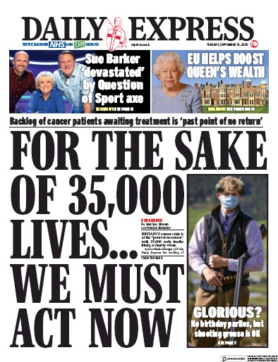Daily Express Newspaper Front Page (UK) for 15 September 2020