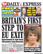 Daily Express Newspaper Front Page (UK) for 16 October 2012