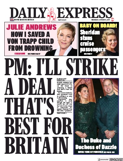 Daily Express Newspaper Front Page (UK) for 16 October 2019