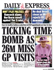 Daily Express front page for 16 October 2020