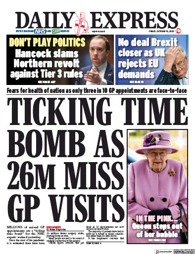 Daily Express Newspaper Front Page (UK) for 16 October 2020