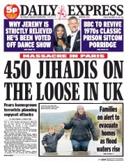 Daily Express (UK) Newspaper Front Page for 16 November 2015