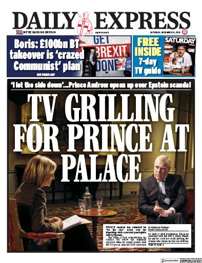 Daily Express Newspaper Front Page (UK) for 16 November 2019