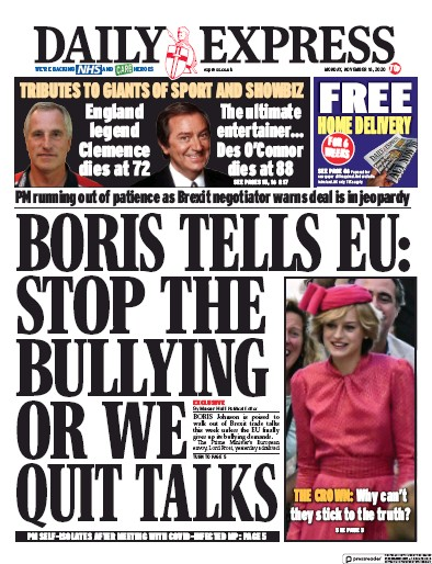 Daily Express Newspaper Front Page (UK) for 16 November 2020