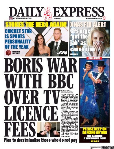 Daily Express Newspaper Front Page (UK) for 16 December 2019