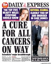 Daily Express Newspaper Front Page (UK) for 16 January 2014