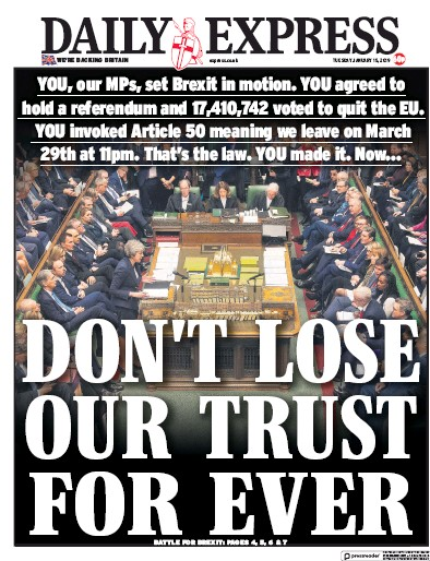 Daily Express Newspaper Front Page (UK) for 16 January 2019