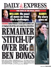 Daily Express (UK) Newspaper Front Page for 16 January 2020