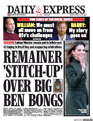 Daily Express Newspaper Front Page (UK) for 16 January 2020