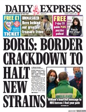 Daily Express front page for 16 January 2021