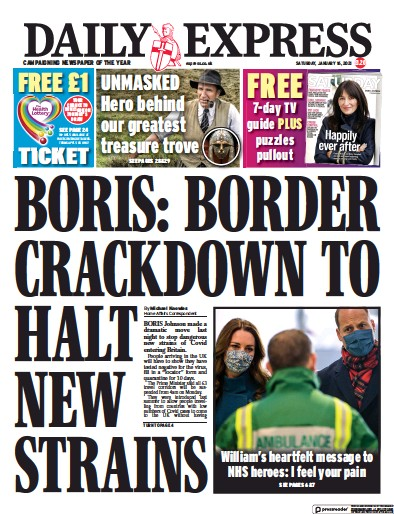 Daily Express Newspaper Front Page (UK) for 16 January 2021