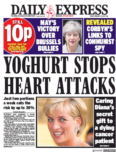 Daily Express Newspaper Front Page (UK) for 16 February 2018