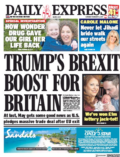 Daily Express Newspaper Front Page (UK) for 16 February 2019