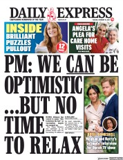 Daily Express front page for 16 February 2021