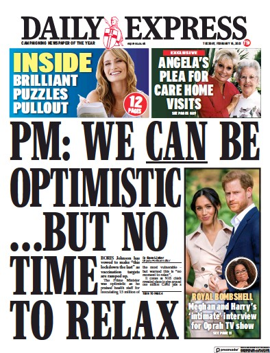 Daily Express Newspaper Front Page (UK) for 16 February 2021