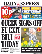 Daily Express (UK) Newspaper Front Page for 16 March 2017