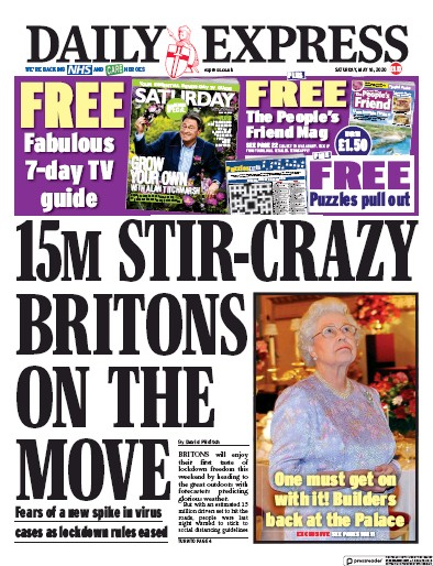 Daily Express Newspaper Front Page (UK) for 16 May 2020