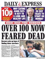 Daily Express (UK) Newspaper Front Page for 16 June 2017