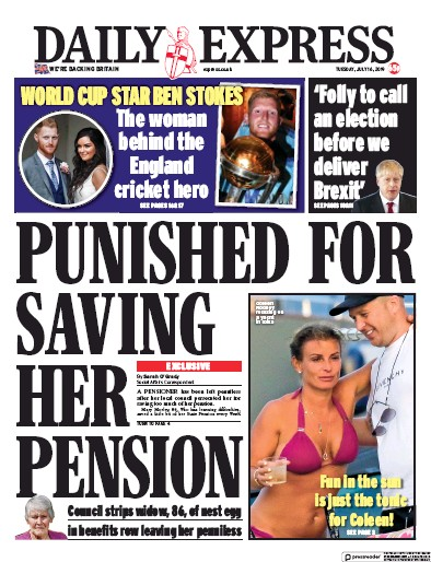 Daily Express Newspaper Front Page (UK) for 16 July 2019