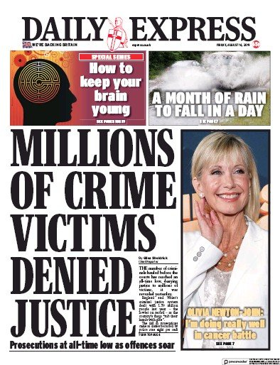 Daily Express Newspaper Front Page (UK) for 16 August 2019