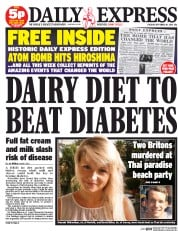 Daily Express (UK) Newspaper Front Page for 16 September 2014