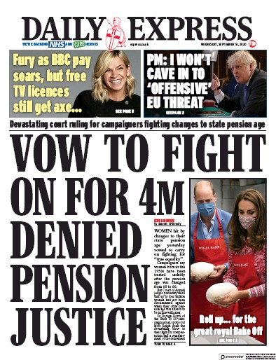 Daily Express Newspaper Front Page (UK) for 16 September 2020