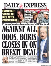 Daily Express (UK) Newspaper Front Page for 17 October 2019