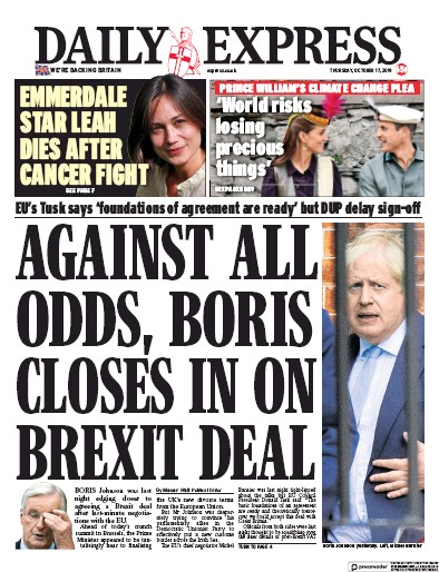 Daily Express Newspaper Front Page (UK) for 17 October 2019