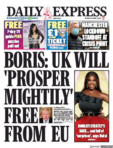 Daily Express Newspaper Front Page (UK) for 17 October 2020