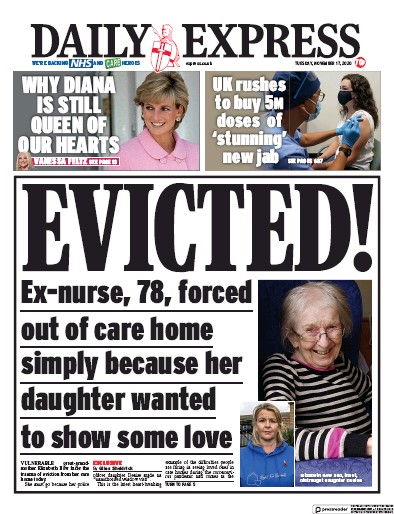Daily Express Newspaper Front Page (UK) for 17 November 2020