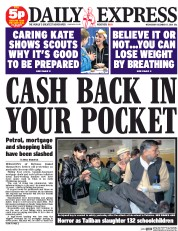 Daily Express (UK) Newspaper Front Page for 17 December 2014