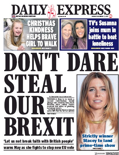 Daily Express Newspaper Front Page (UK) for 17 December 2018
